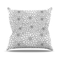 "Julia Grifol ""White Flowers"" Throw Pillow, 16"" x 16"" - Outlet Item"