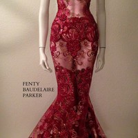 The Fenty Baudelaire Parker She Wore Red Fancy, Sequins, Tinsel, Micro Fiber Embroidery Gown on mesh/net. Pattern Embroidery on hem of gown