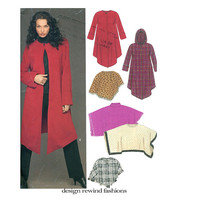WOMENS HOODED COAT Pattern Jacket Pattern New Look 6432 Easy to Sew Collarless or Hoodie Coat Poncho UNCuT Plus Size Womens Sewing Patterns