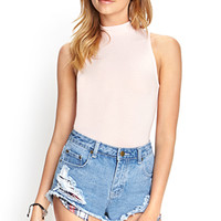 FOREVER 21 High-Neck Crop Top Pink