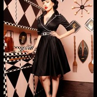 """""""Haunted Housewife"""" Dress in Black with White from Deadly Dames - Dresses - Clothing 