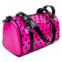 Hot Pink Polka Dot Bowler Bag Rockabilly Pinup Purse