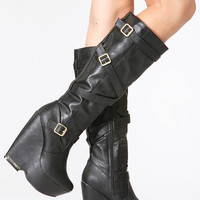 Black Faux Leather Gold Accent Platform Wedge Boots