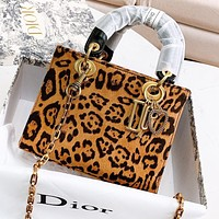 DIOR New fashion leopard print leather handbag shoulder bag crossbody bag women