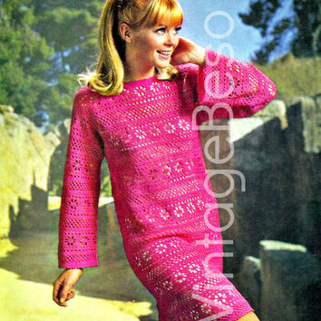 """Lacy Flower Panel Dress 1960s Vintage CROCHET Pattern Ladies Sexy Above Knee Bell Sleeve Mod Shift Dress Bust 34-38"""" in 3-ply Instant PDF"""
