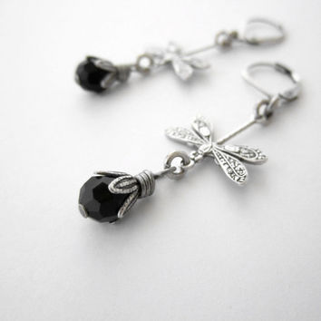 Dragonfly Jewelry - Jet Black Earrings - Victorian Gothic Jewellery - Lightweight