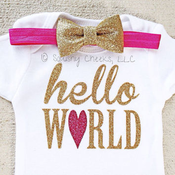 Hello World Onepiece with Headband, NO SHED Glitter Take Home Infant Outfit, Newborn Girl Clothes, Baby Shower Gift, Hospital Newborn Outfit