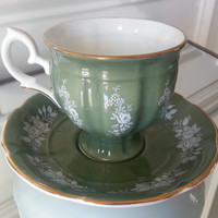 Vintage Crown Staffordshire jade green tea cup and saucer set with white roses and floral design, English fine bone china tea set