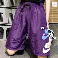 NIKE New Summer Letter Hook Print Sports Leisure Shorts Purple