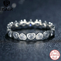 Authentic 100% 925 Sterling Silver Love Heart Forever More Stackable Ring Clear CZ Compatible With  Jewelry Gift PA7124