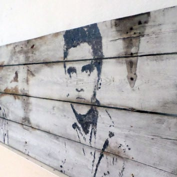Reclaimed Wood Art - Statement Piece - Large Painting - Upcycled Gate - Unique Pop Art Painting - Dual Gunslinger Elvis Andy Warhol