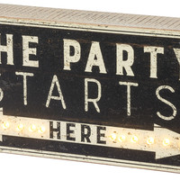The Party Starts Here LED Lighted Battery Operated Sign - 10-in x 4-1/2-in