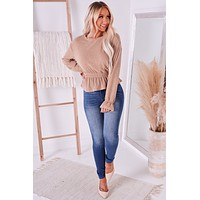 Still Thriving Ruffle Long Sleeve Top (Taupe)