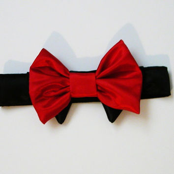 Dog or Cat Bow Tie: Wedding Red Satin with Black Collar Christmas Bow Tie