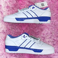 ADIDAS RIVALRY Three Leaf Trending Flat Shoes Classic Sneakers White with blue stripe