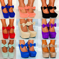 LADIES WOMENS ANKLE STRAPS BOWS WEDGED PLATFORMS WEDGES HIGH HEELS SHOES UK 3-8