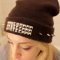 Studded and Spiked Wool Knit Beanie Hat, Assorted Colors - Free Shipping