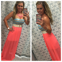Sequin Chevron Maxi Dress