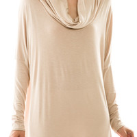 Long Sleeve Tunic Cowl Neck Top in Cream