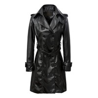 Fashion Leather Jacket Women Faux Synthetic Long Leather Trench Coat Women Slim Adjustable Waist Long Leather Coat