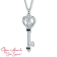 Open Hearts Key Necklace 1/15 ct tw Diamonds Sterling Silver