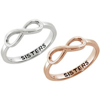 Eternally Haute Sterling Silver Sisters Sentiment Infinity Ring