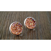 Druzy earrings- ab peach drusy silver tone stud druzy earrings