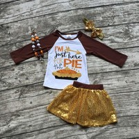 "4PC Little Girl's Outfit Perfect for Thanksgiving Day ""I'm just here for the pie"" Gold Sequins Matching Necklace and Headband"