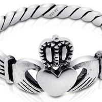 Sterling Silver Irish Claddagh Friendship and Love Polish Promise Ring Size 4