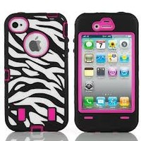 Aria (TM) BLACK ZEBRA HIGH IMPACT COMBO HARD RUBBER CASE FOR IPHONE 4 4G 4S HOT PINK Film