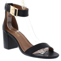 """Gilberta"" Ankle and Toe Strap Low Chunky Heel Sandals - Black"