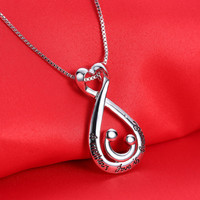 Mothers Day Gifts for Mom Jewelry Silver Plated Necklaces & Pendants For Women A mother's Love Is Forever Sweater Chain Necklace