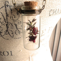 Flowers in a mini Bottle Necklace by SirensAllure on Etsy
