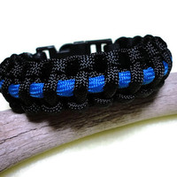 Police Law Enforcement Paracord Survival Bracelet Black Thin Blue Line Handmade USA Cobra Weave