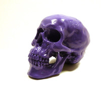 goth skull head, purple, spooky, skulls, eclectic home decor, purple decor, creepy, anatomy, avant garde decor