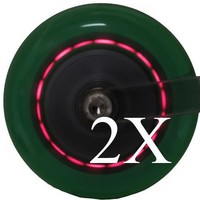 Set of 2 Motion Light Up Green Scooter Wheels for Razor Scooter 100 mm