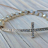 Side Cross Bracelet, Silver, Rhinestones, Crystal Macrame, Gifts for Her, Christian, Religious Jewelry, Fall Jewelry,Tweens, Gifts Under 30