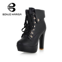 BONJOMARISA Extra Size 31-43 Women Sexy High Thick Heel Winter Fur Boots Woman Platform Winter Shoes With Fur Ankle Punk Boots