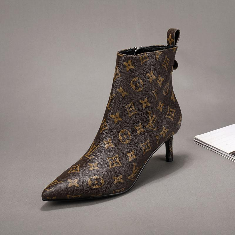 Image of lv louis vuitton trending womens black leather side zip lace up ankle boots shoes high boots 240