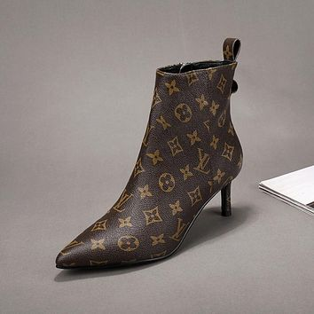 lv louis vuitton trending womens black leather side zip lace up ankle boots shoes high boots 240