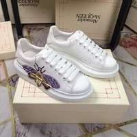 heel: 4.5M Alexander Mcqueen womens leather Reflective Thick-soled Shoes low-top White Shoes boots best qualiry