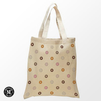 Donut Pattern  Pattern Tote Bag - 15X16 Inch Natural Tote Bag, White & Black - Vanilla Strawberry Donut - Chocalate Donut