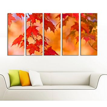 Large Wall Art Autumn and Red Leaves Canvas Prints Prints For Wall Framed Ready to Hang Autumn