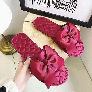 Women's Bow Slippers Low-Heel Flat-Bottomed Slippers Women's Outing Sandals