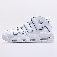 Nike Air More Uptempo White/Midnight Navy Platform Sneakers Shoes