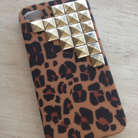 Ready to ship Leopard print silver pyramid studded iphone case 4g 4s
