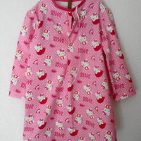 Girl's Sleep Shirt, Flannel Sleep Shirt, Hello Kitty GIrl's Sleep Shirt, Size 6 Flannel Sleep Shirt, Lounge Shirt