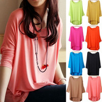 10 Colors Oversized Maternity Women Modal Batwing Asymmetrical Hem Baggy Blouse Pullover = 1945844484