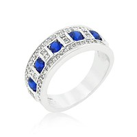Gina Sapphire Blue and Clear Encrusted Band Ring | 3ct