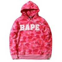 Bape Unisex Pullover Hoodies Cotton Tops Sweatshirt [103844184076]